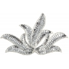 Motif Sequin/beads Leaf Silver 17x11cm